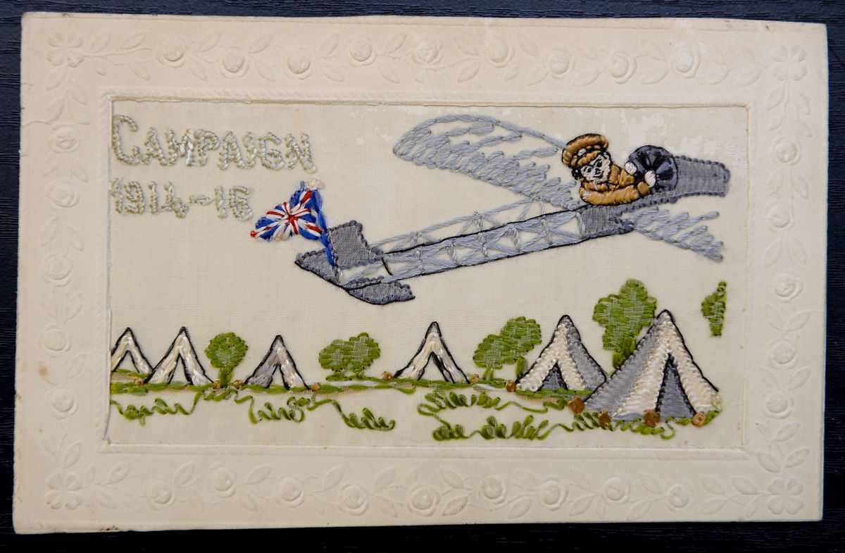 One of the more unusual items is an embroidered postcard from 1916 featuring the war campaign