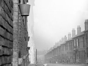 Fire buckets in the front line of the Blitz in Fisher Street, Wolverhampton.