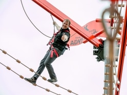 Great Scott, that's high - one of Bear Grylls' key safety team tests Europe's highest high ropes course