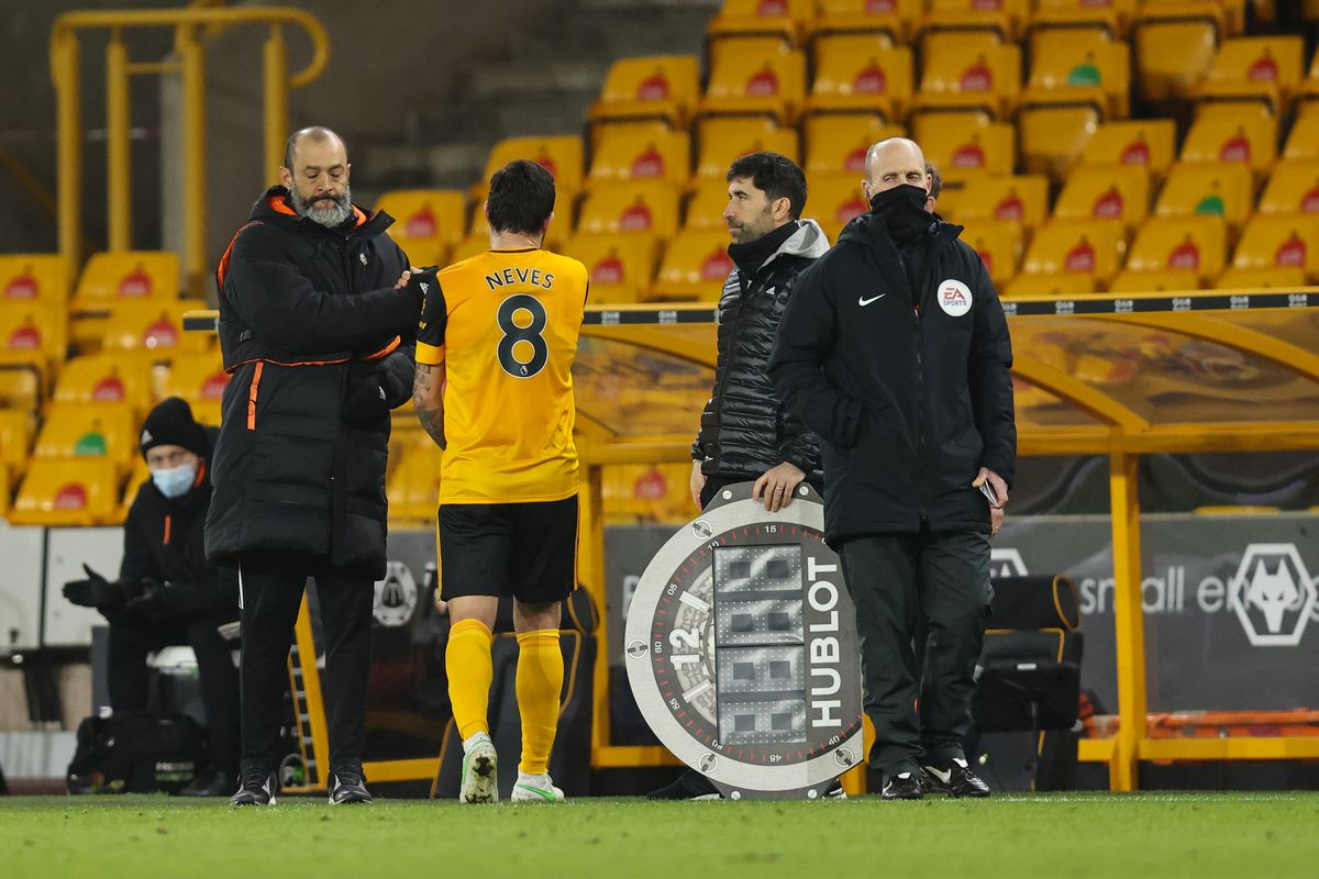 Nuno Espirito Santo the manager / head coach of Wolverhampton Wanderers with Ruben Neves (AMA)