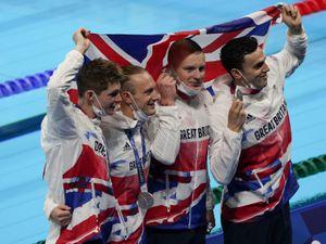 Members of Britain's men's 4x100-meter medley relay team