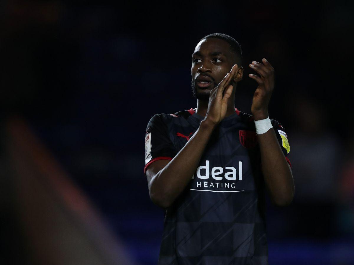 Goal scorer Semi Ajayi of West Bromwich Albion applauds the West Bromwich Albion Fans at the end of the match.