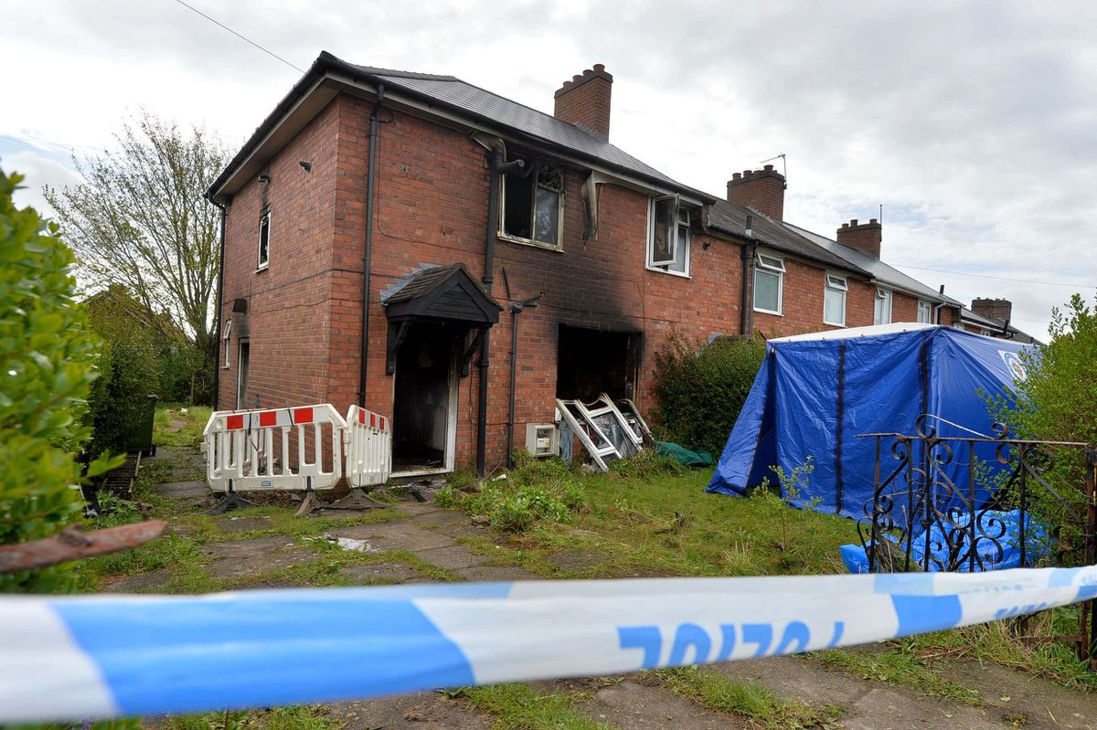 The aftermath of the fire in Beacon Lane, Sedgley