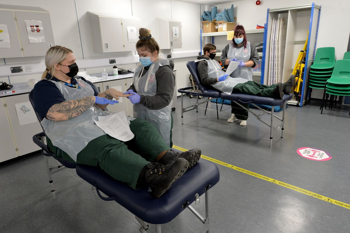 Third year paramedic students at Staffordshire University