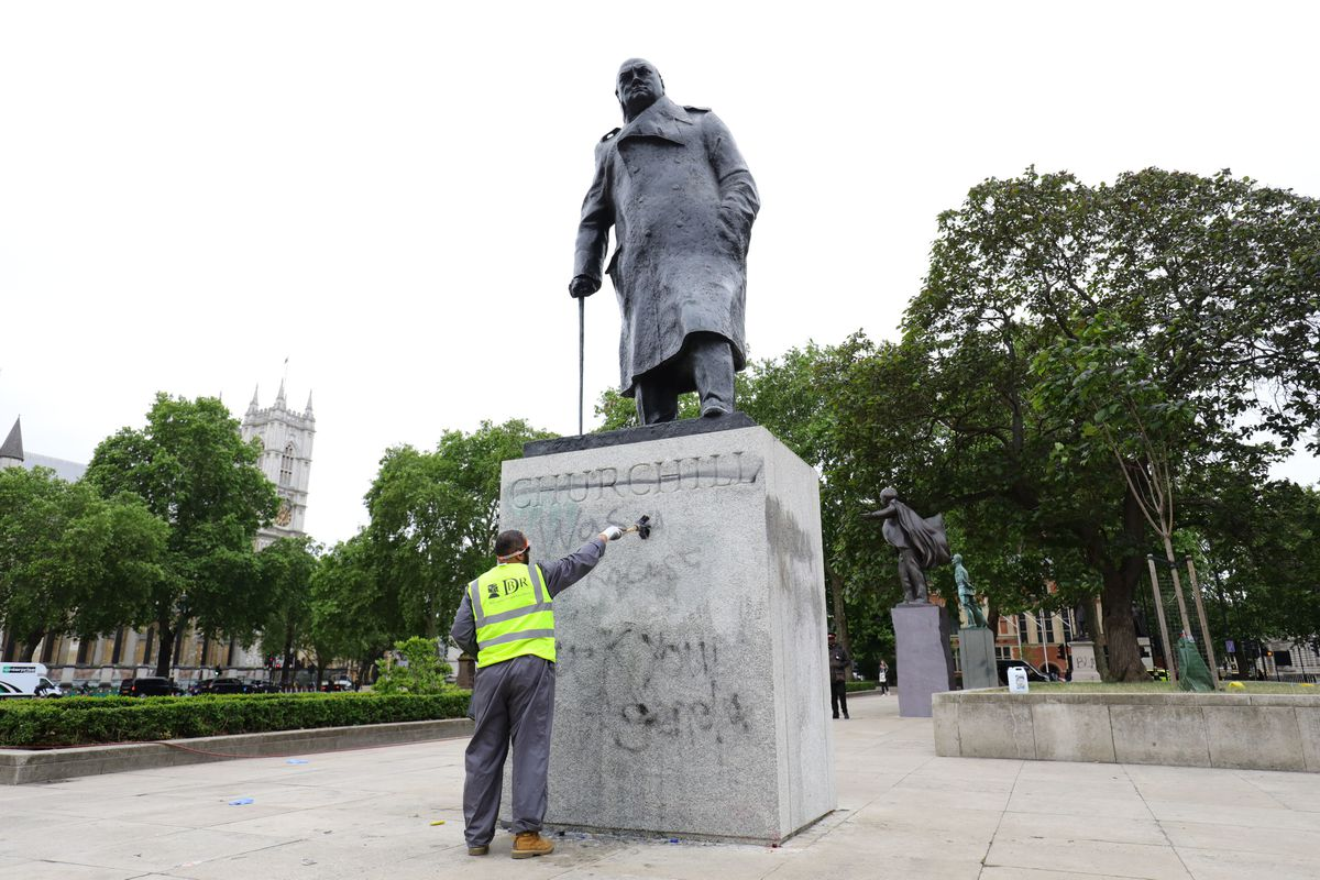 The Churchill statue's plinth is cleaned