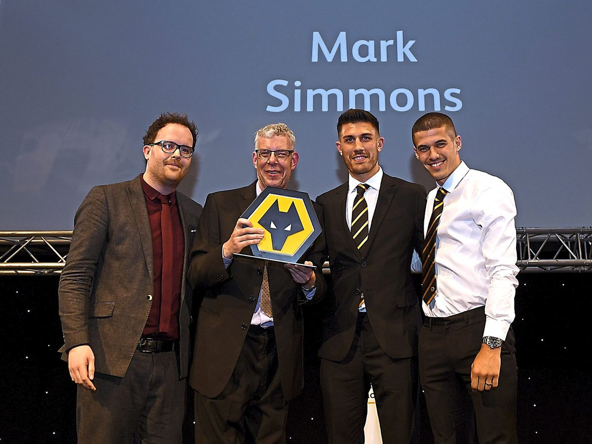 Mark Simmons with his Express and Star fan of the season Award at the Wolverhampton Wanderers End of Season Dinner. (AMA/Sam Bagnall)