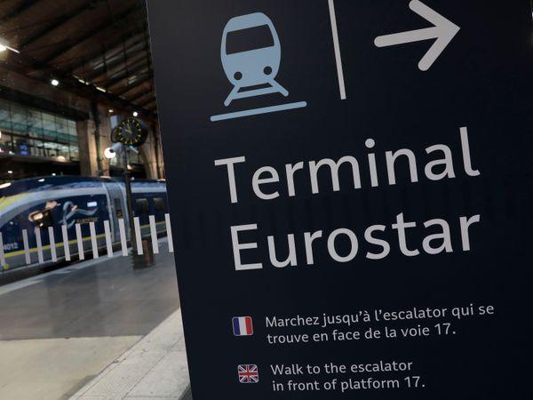 A Eurostar information board at Gare du Nord train station in Paris