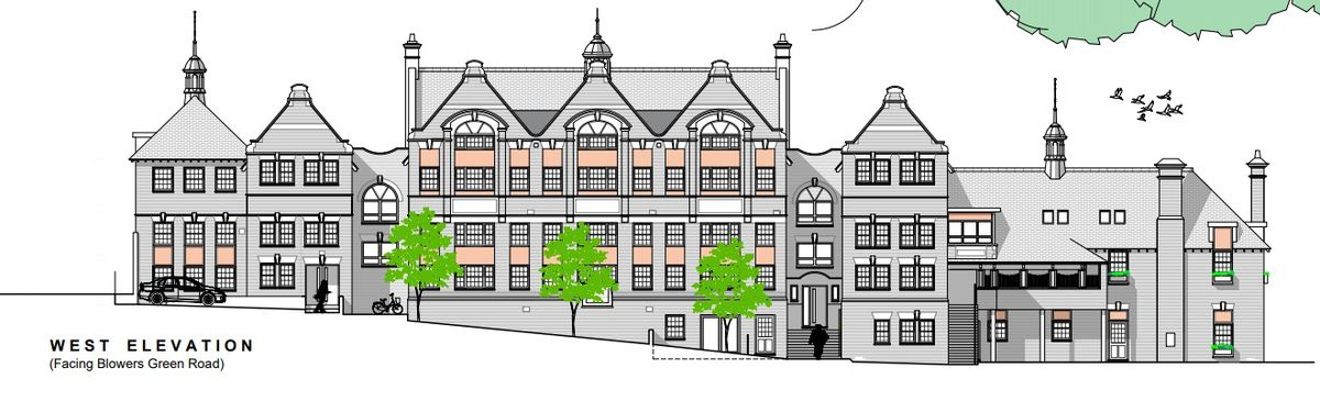 An artist impression of an apartment scheme for the Claughton Centre