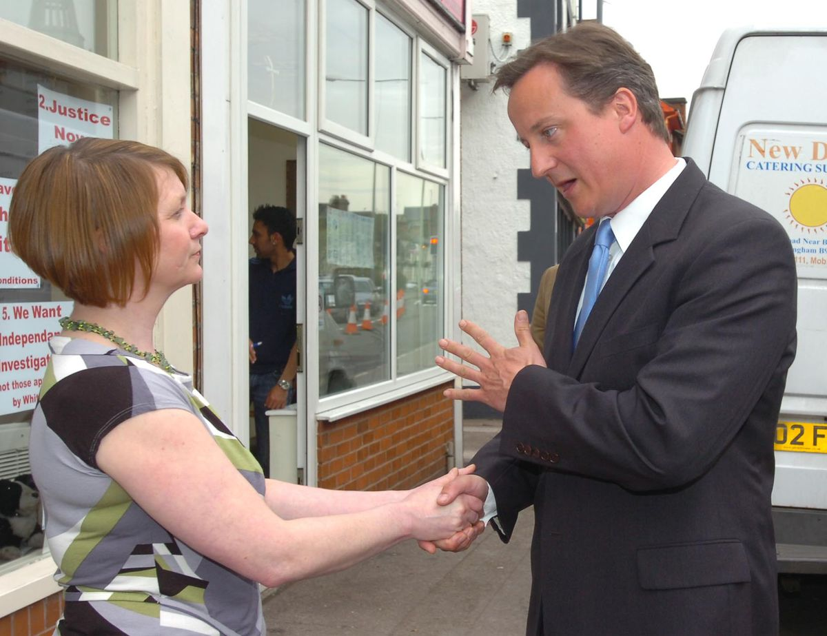 Julie Bailey meeting David Cameron at Breaks Cafe in Stafford on April 14, 2009