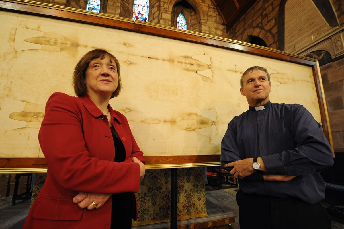 Looking at a replica of the Turin Shroud, exhibiton curator Pam Moon, with husband Rev Phil Moon, at St Mary and St Chad church, Brewood