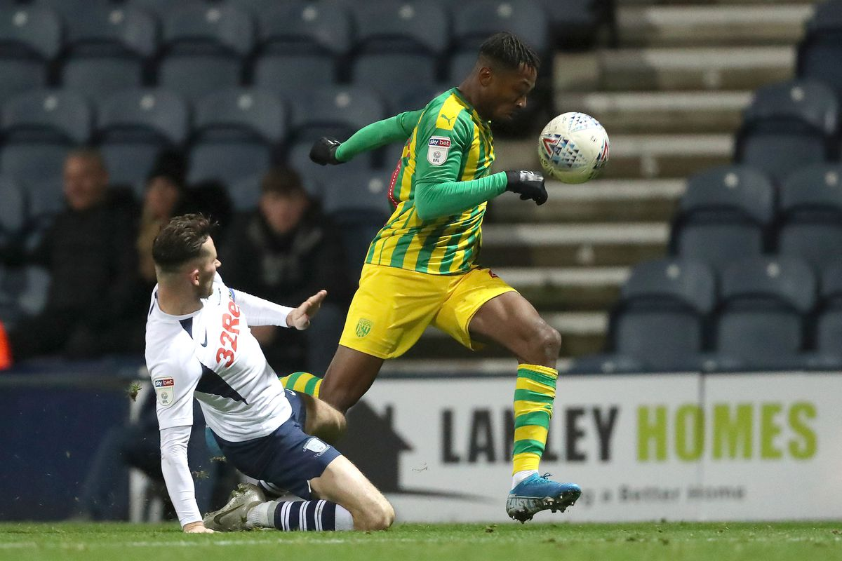 Alan Browne of Preston North End and Kyle Edwards of West Bromwich Albion (AMA)