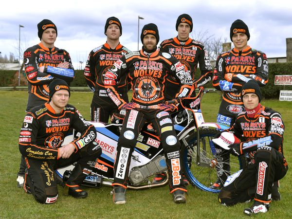 SPORT EXPRESS & STAR ( JOHN SAMBROOKS ) 26/03/2018..The Wolves Speedway team line up for the 2018 season at Monmore Green.................  .............................