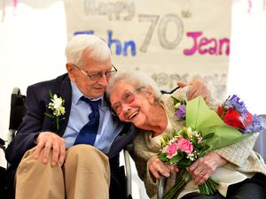 John Cook, 95, and his wife of 70 years, Jean Cook, 90, celebrate their platinum wedding anniversary at Bradeney House, Worfield