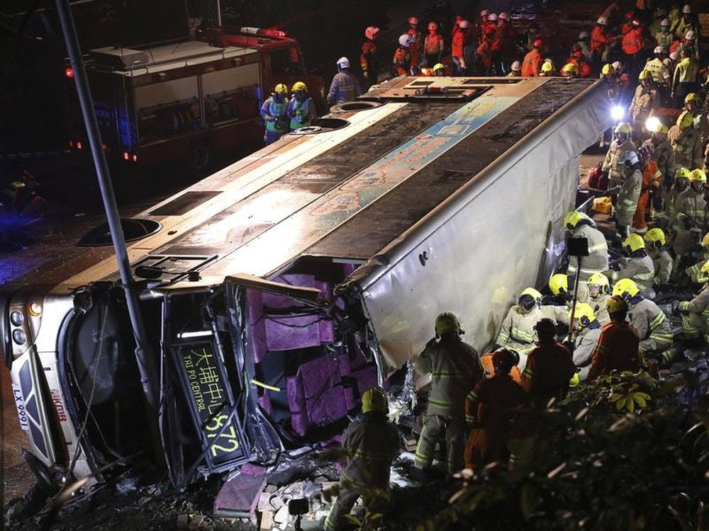 19 killed, dozens injured in Hong Kong bus crash
