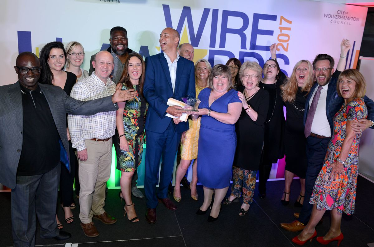 Winners of Independent Retailer of the Year: The team from Rudell The Jewellers celebrating with Richard Scharenguivel, manager at award sponsor Mander Centre
