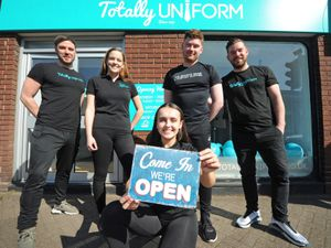 Co-owner Greg Walters, staff members Amy Passmore, Rachel Macrae, Andy Roberts, and co-owner Grant Walters at Totally Uniform