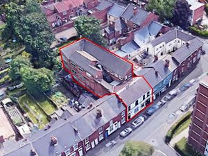 An aerial view of the old Sabre Leather Co workshop on Sandwell Street, Walsall. Photo: Thirteen Estates Ltd