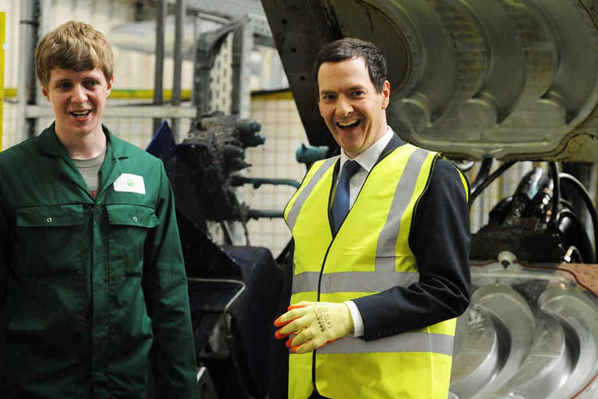 George Osborne on a visit to Westley Plastics in Dudley. He has praised the latest Ladder scheme
