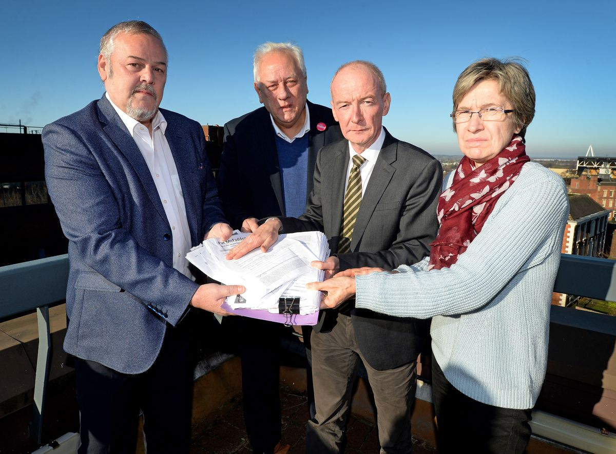 Pat McFadden MP hands over more than 150 residents responses to Wolverhampton Council leader Ian Brookfield objecting to the Seven Cornfields proposal