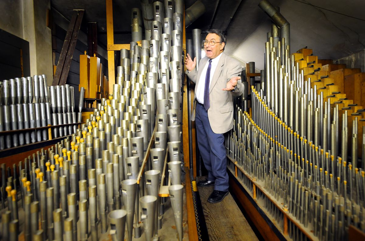 Steve Tovey pictured among the pipes in the Civic Hall back in 2008