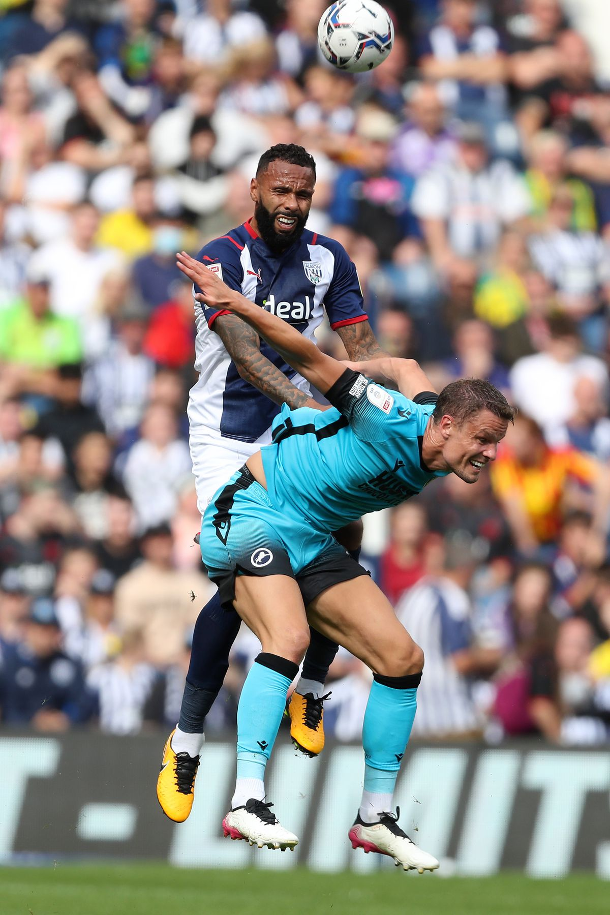 Kyle Bartley of West Bromwich Albion and Mathieu Smith of Millwall. (Photo: WBA)