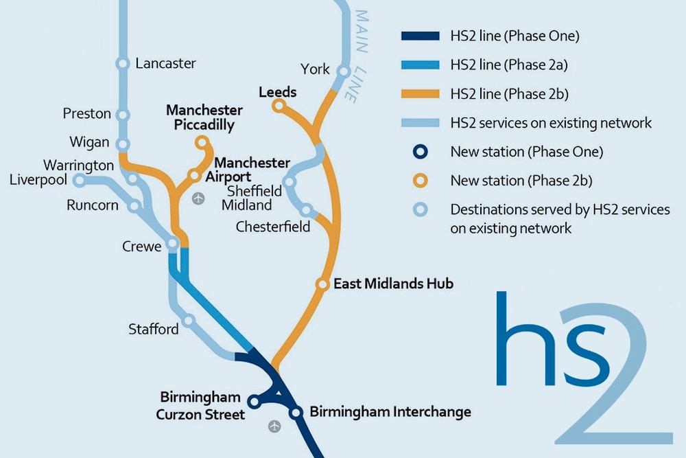 Hs2 Second Route Linking Birmingham To Manchester And