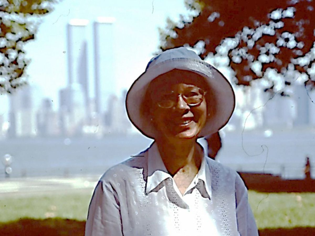 Orleana Cattell of Wolverhampton during her New York trip in September 2001, with the twin towers in the background.