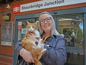 Stourbridge Junction station manager Simone Carter at Stourbridge Junction station with George the cat