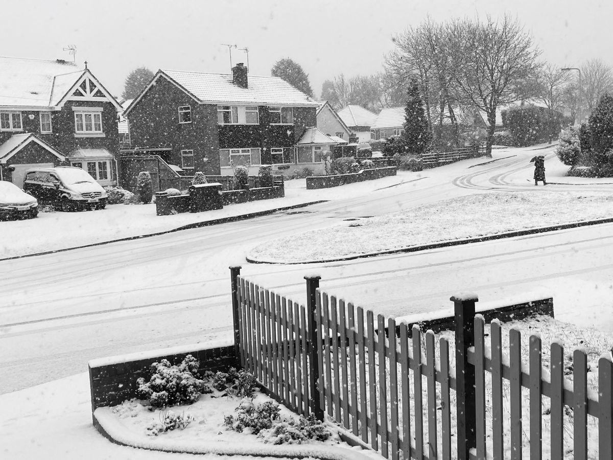 Snow in Penn, Wolverhampton, on Sunday morning. Photo: Nr Newton