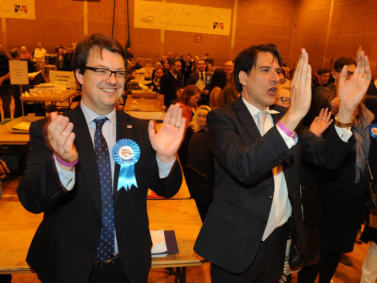 Conservative MPs Mike Wood, left, and James Morris, right, are standing again in the Dudley borough