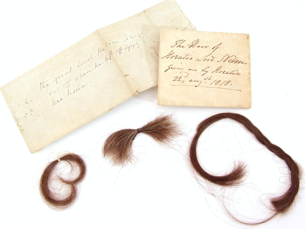 Locks of Lord Nelson's hair will be sold at auction at Keys Auctioneers and Valuers in Aylsham, Norfolk