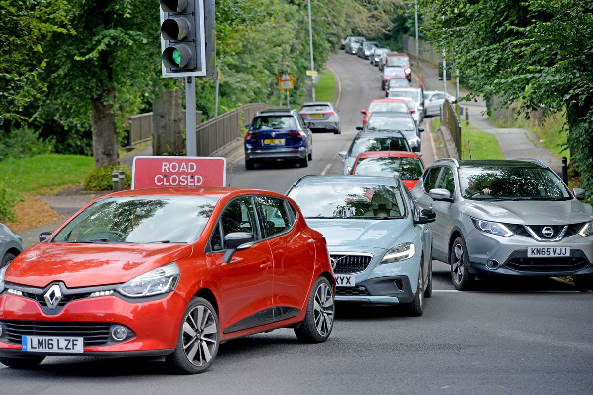 Traffic queues at the junction of Windmill Lane and Bridgnorth Road, near where the body was found