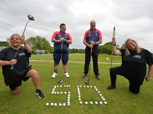 Kerry Baugh, Steve Baugh, Peter Lane, and Good Shepherd senior key worker Tina Lane, all of Wolverhampton, at Penn Golf Club.