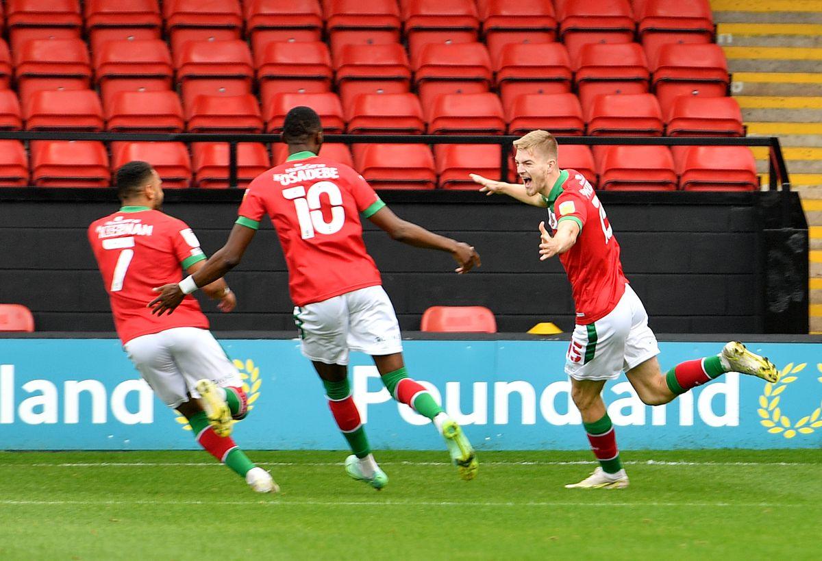 Kieran Phillips celebrates his early goal.