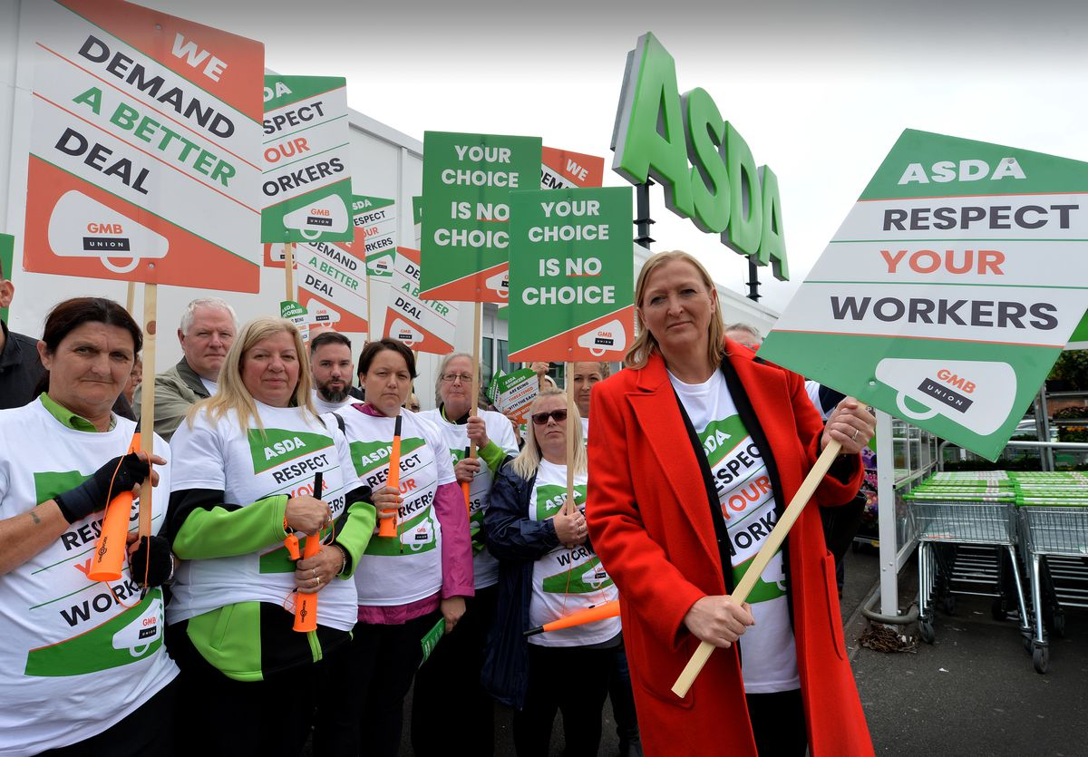 Staff protest outside Bloxwich Asda. Pictured with protestors is, left, Gill Ogilvie, Labour's prospective parliamentary candidate for Walsall North