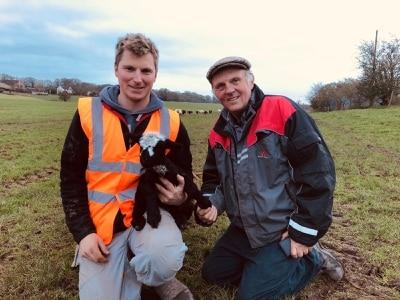 Hitting the bottle as part of Lamb Week at Lower Drayton Farm