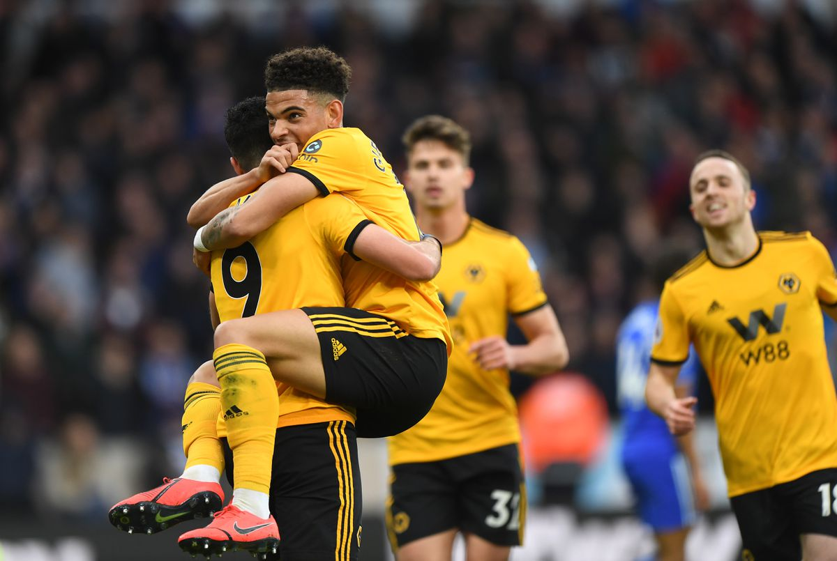 Raul Jimenez of Wolverhampton Wanderers celebrates after scoring a goal to make it 2-0 with Morgan Gibbs-White of Wolverhampton Wanderers. (AMA/Sam Bagnall)