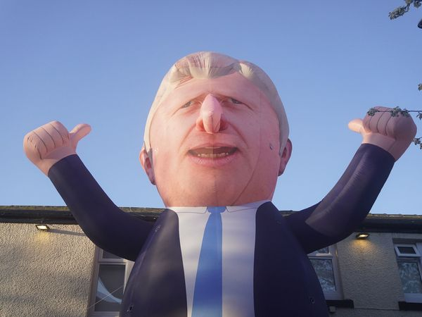 A 30ft inflatable Boris Johnson erected outside Mill House Leisure Centre in Hartlepool