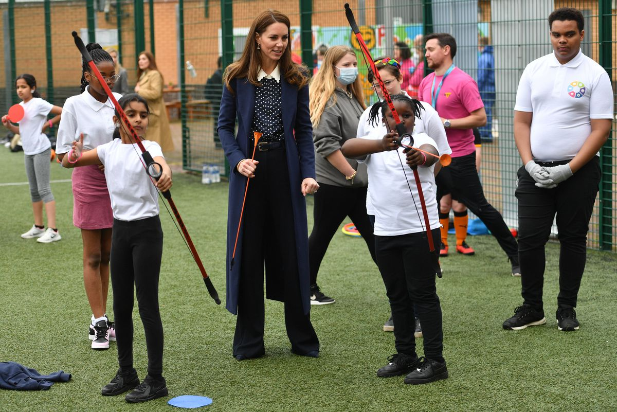 The Duchess of Cambridge shows off her archery skills Photo: Jacob King/PA Wire