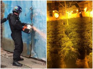 Police officers used cutting gear to open up the industrial unit to find the cannabis worth £500,000. Images: West Midlands Police