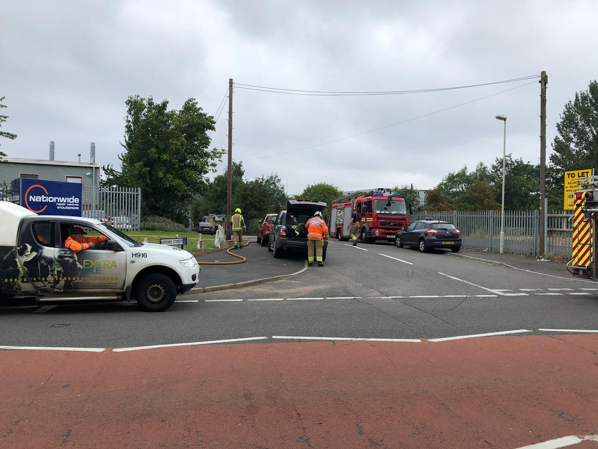 Firefighters at the scene in Stourbridge