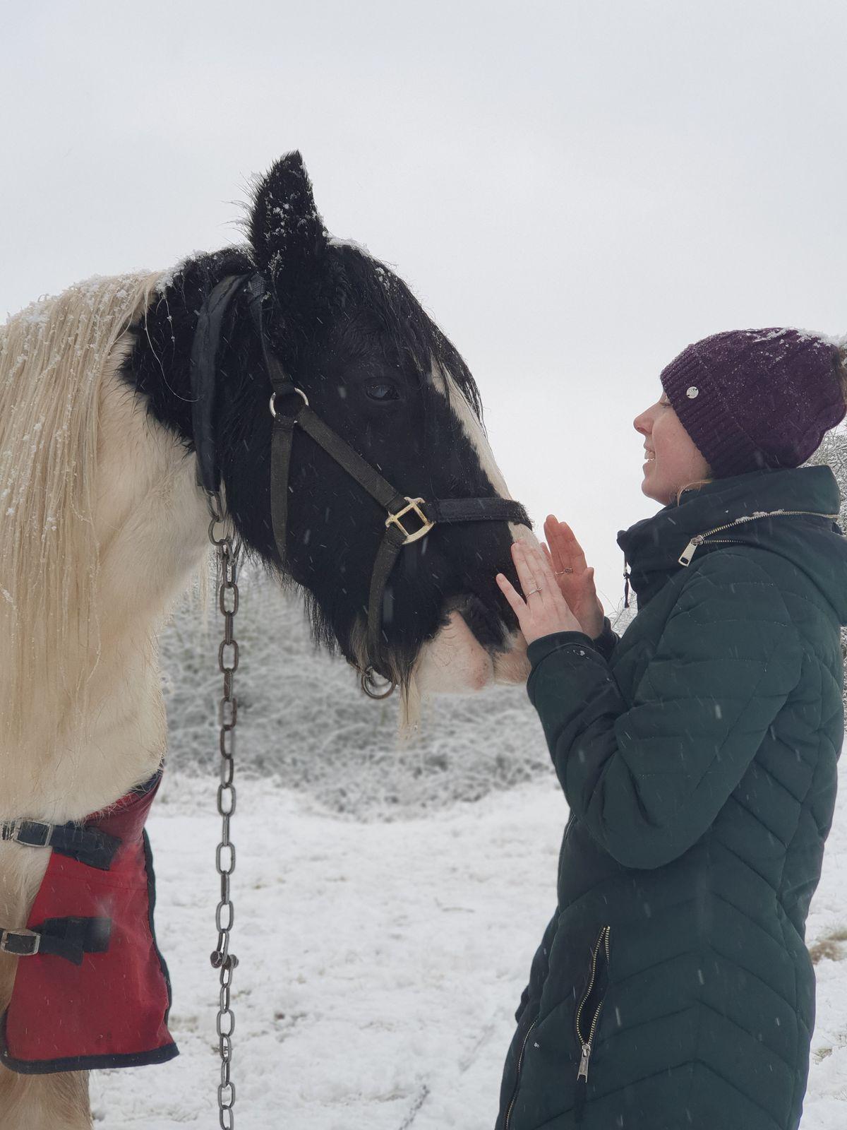 Horse lover Abbie Onions in snowy Wednesfield. Photo: Sally-Ann Fox