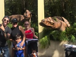 This family were so terrified of an animatronic dinosaur they ran off