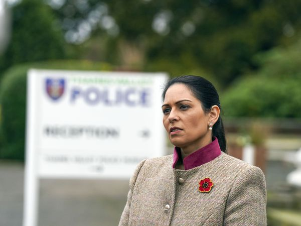 Home Secretary Priti Patel during a visit to Thames Valley Police Training Centre in Reading