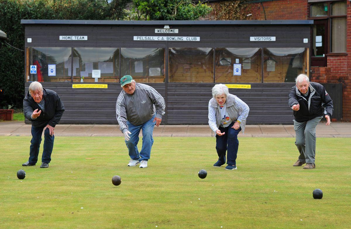 Pelsall Bowling Club members Tony Davis, John Coleman, Diane Jackson and Tiony Johnson