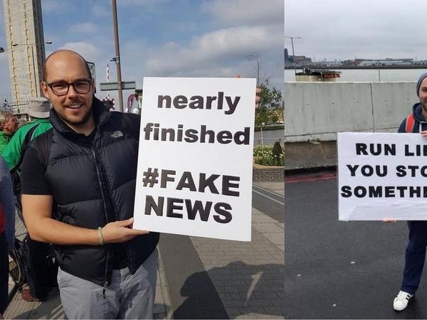 This man is winning the marathon sign game