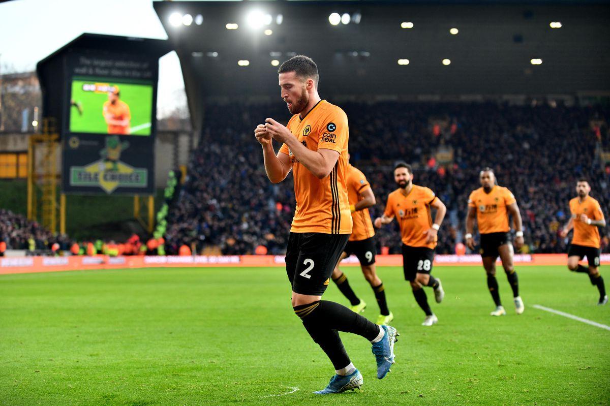 Matt Doherty of Wolverhampton Wanderers celebrates after scoring a goal to make it 1-1.
