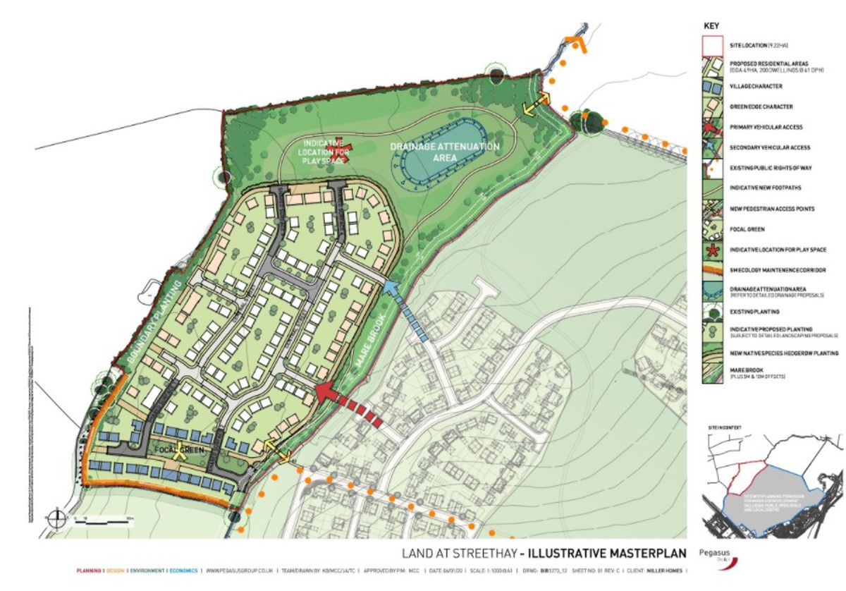 An illustrative masterplan of the 200 home Streethay development submitted as part of the planning application to Lichfield District Council