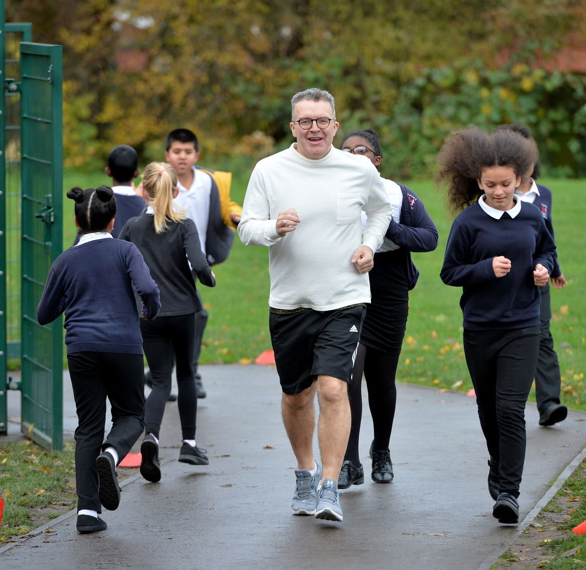 Tom Watson MP running with school children in the Daily Mile