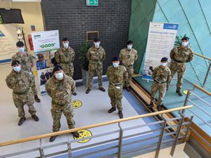 Members of the 1st Signal Regiment at University Hospital in Coventry